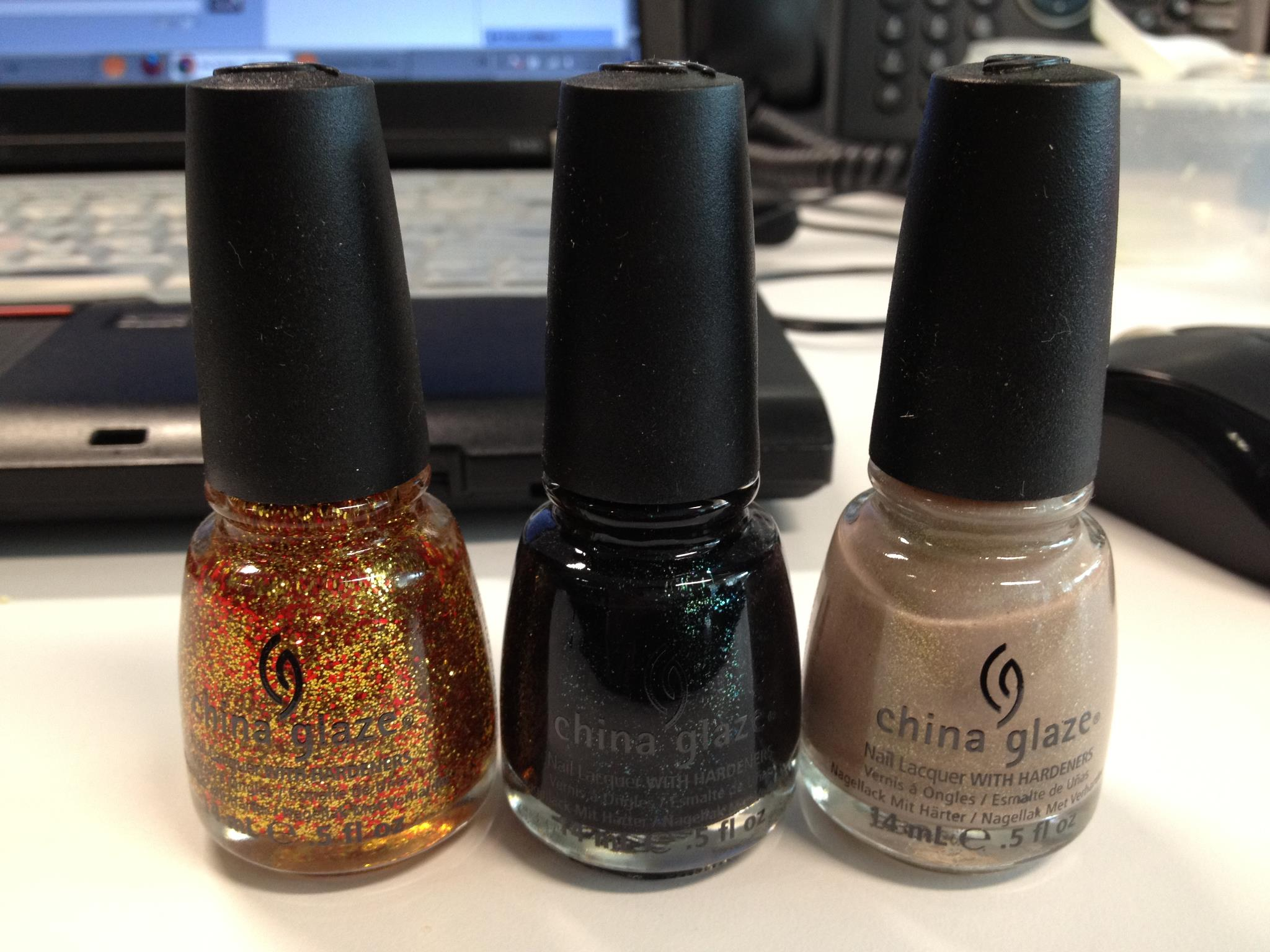 China Glaze Capitol Colors. L-R: Electrify, Smoke and Ashes, Fast Track