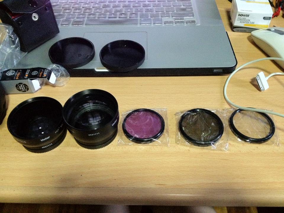 By mail order, lenses and filters for LX3. I don't know what they do. Find out soon.