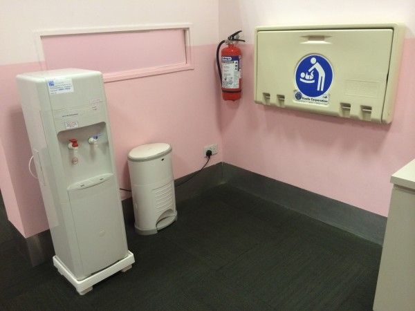 Hot and Cold Water Dispenser, Changing Table, and Diaper Bin